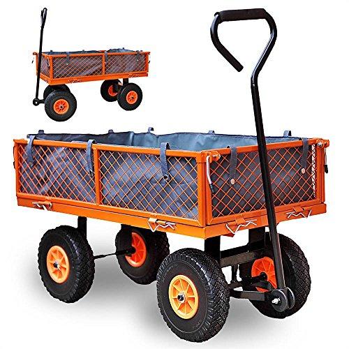 Fuxtec Gerätewagen FX-GW350 mit bis zu maximal 350kg Zuladung, mit aufklappbaren Seitenwänden, ideal als Gartenkarre für Ihre Geräte, inkl. großer Lufträder