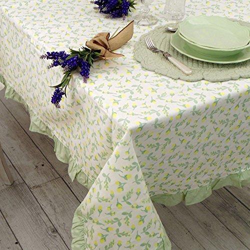 Nappe Couvre Table Nappe à Volant Provençal Shabby Chic - Volant / Floral - 150x220 - Blanc / Vert / Jaune - 100% Coton