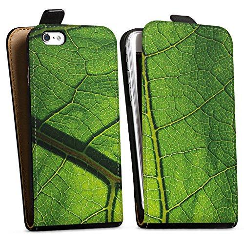 Apple iPhone X Silikon Hülle Case Schutzhülle Blatt Struktur Grün Downflip Tasche schwarz