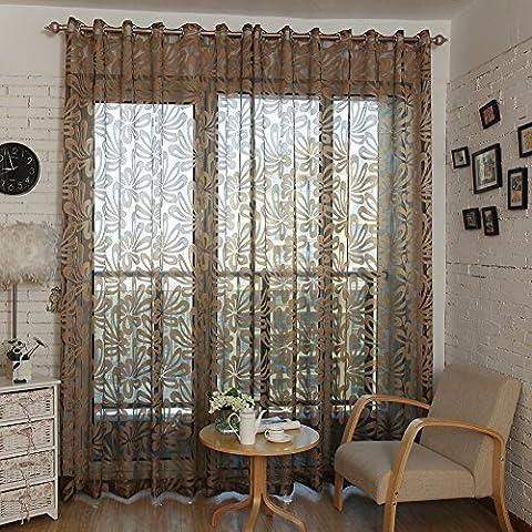 Top Finel Window Treatments Voile Net Curtain Panel Geometric Pattern 76-inch Width X 96-inch Length ,Grommets,Brown, Single Panel