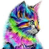 Kingko® Cute Cat Cross Stitch 5D Diamond Cat Embroidery Painting Animal Rhinestone Cross Stitch Decor DIY, Multi-Color (A)