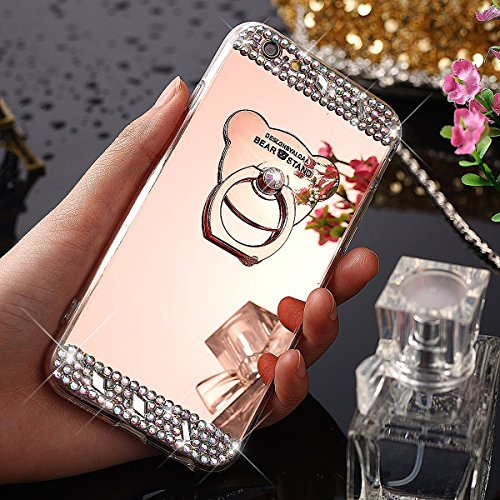 iPhone 5S/SE Miroir Cover Case,iPhone 5S/SE Case Glitter,Hpory Beau élégant Luxury Ultra Thin Soft TPU Gel Silicone Cristal Clair Bling Brillant Miroir Placage Ours Bling Glitter Ring Stand Holder Etu Diamant,Or rose