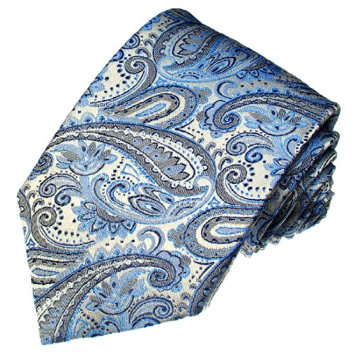 LORENZO CANA - Seidenkrawatte mit Paisley Floral Muster Blau Silber - Schlips aus 100% Seide - 36006 (Kreis-muster-krawatte)