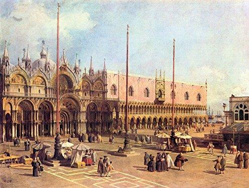 Das Museum Outlet-La Piazza San Marco von Canaletto, gespannte Leinwand Galerie verpackt. 29,7x 41,9cm