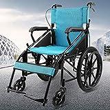 MTX Ltd Ältere Menschen Liefern Rollstuhl Faltbarer Leichtgewichtsrollstuhl, Aluminiumrollstuhl, Manueller Rollstuhl, Faltender Transportreisenrollstuhl, Hoher Rollstuhl,Blau,A