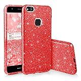 EGO  Étui brillant Coque chic pour téléphone Huawei P10 Lite, rouge avec des pailettes brillantes Housse Brillante Luxueuse en Silicone