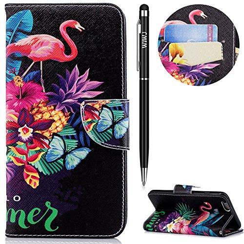 WIWJ iPhone 6 Plus Hülle,iPhone 6S Plus Leather Handyhülle, Wallet Case[Messer Schnalle Gemalt Stand Handy Case] Schutzhüllen für iPhone 6 Plus/iPhone 6S Plus-Flamingos