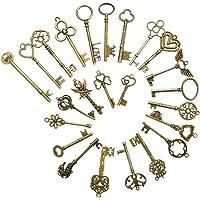 FOCCTS 24 pezzi chiavi scheletro in bronzo vintage, chiavi scheletro antiche ciondoli kit fai da te, portachiavi rustici…