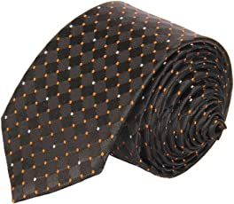 Tossido Woven Black Dotted Micro Fiber Skinny Necktie