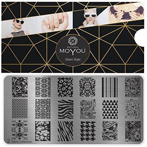 MoYou's XL Glam 2 Stamping Schablone, Nail Art Stampling - Nagel Lack Stempel, Leoparden- und Zebra...