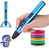 A3 3D Printing Pen Professional   1.75mm Diameter   Strong Metal Body   OLED Display   Supports PCL / PLA Filament (Blue)