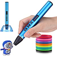 A3 3D Printing Pen Professional | 1.75mm Diameter | Strong Metal Body | OLED Display | Supports PCL / PLA Filament (Blue…