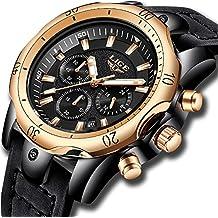 Relojes para hombre,LIGE Cronógrafo Impermeable Militar deportivo Reloj analógico de cuarzo Big Face Fecha Moda Casual Relojes de pulsera Correa de cuero oro rosa negro