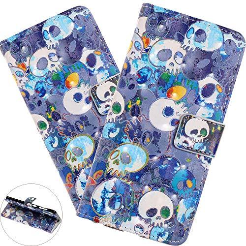 HMTECH Huawei Mate 20 Lite Hülle,Huawei Mate 20 Lite Handyhülle Glitzer 3D Blauer Schädel Flip PU Leder Case Cover Magnet Schutzhülle Handytasche für Huawei Mate 20 Lite,FD Blue Skull
