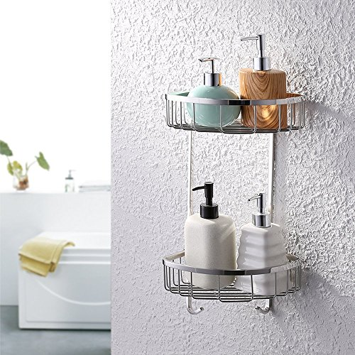 KES A2123B Bathroom Triangular Tub and Shower Caddy 2-Tier Wall Mount, Polished Finish, SUS304 Stainless Steel