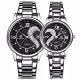 Romantisch Paar Uhren für sie und ihn-Edelstahl Analog Quarz Geschenk Armbanduhr Schwarz-2ER-SET