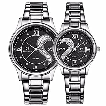Fq-102 Stainless Steel Romantic Pair His & Hers Wrist Watches For Men Women Set Of 2 (Black) 0