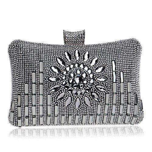 PLYY Pu-Diamant-Frauen-Handtaschen-Klappen-Art-Geformte Rhinestones-Zusatz-Kleine Dame-Geldbeutel-Ketten-Schulter-Kurier-Abend-Tasche, Black -