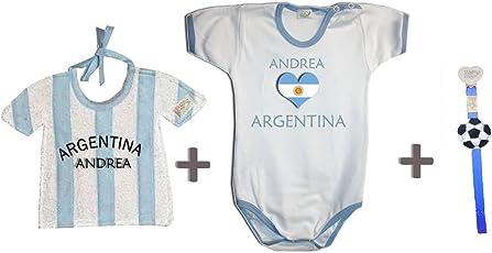Zigozago - Weltmeisterschaft ARGENTINIEN personalisiert Set zusammengestellt von Lätzchen + Spielanzug + Schnullerkette.