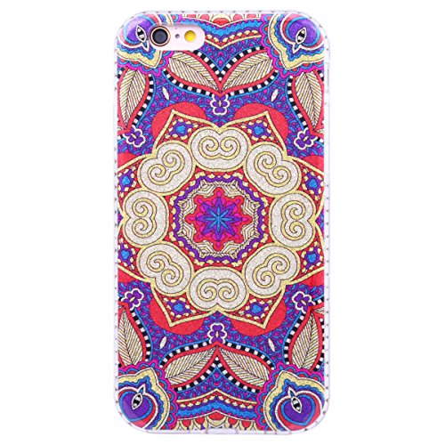 WE LOVE CASE iPhone 6 / 6s Hülle Glitzern Diamant Blumen iPhone 6 / 6s Hülle Hardcase Blau Handyhülle Tasche für Mädchen Elegant Backcover , Harte Case Handycover Stoßfest Bumper , Ultra Dünn Schale S flower 2