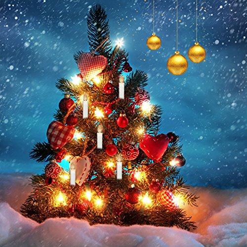 Jingrong 10 pezzi candele di Natale LED con telecomando wireless per albero di Natale