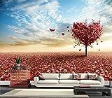 Tsqqst Fototapete 3D Heart-Shaped Maple Wandmalerei Seamless Große Wandbild Esszimmer Schlafzimmer Tapete Wohnzimmer Sofa Tv Rückwand Tapete