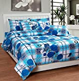 Soni Traders White & Blue Check Floral P...