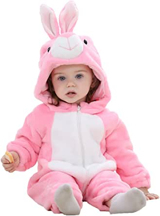 Michley Bambini Pagliaccetti Unisex neonata con Cappuccioanimali di Flanella per 0-3Anni