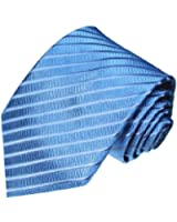 LORENZO CANA - Luxus Designer Krawatte aus 100% Seide - Seidenkrawatte Hellblau Blau Ton in Ton gestreift - 84211