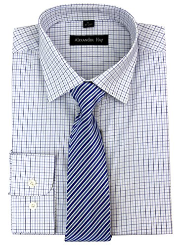 Regular Fit Navy and Blue Classic Check Formal Shirt and Tie Set by Alexander Hay B004NAV