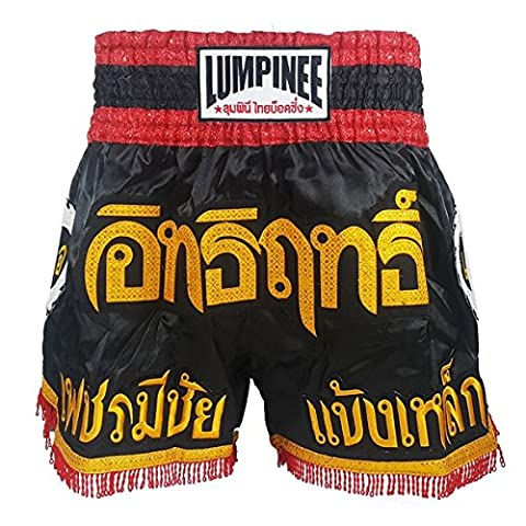 Lumpinee Série Super Power LUM-017 Short de kickboxing/Muay Thaï Noir/Rouge, grand