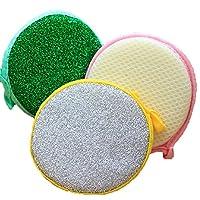 EUBUY 10pcs Double Side Round Shape Metallic Scrub Sponge Dish Pad Cleaner(10pcs)