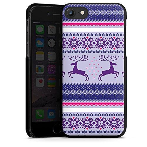 Apple iPhone X Silikon Hülle Case Schutzhülle Rentier Norwegermuster Weihnachten Hard Case schwarz