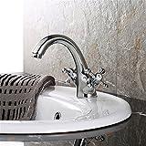 SADASD Moderne Badezimmer Waschbecken wasserhahn Kupfer Spüle Wasserhahn Zeichnung sitzen Doppel Waschbecken wasserhahn Einloch einzigen Griff Heißes und Kaltes Wasser Keramik Ventileinsatz mit G3/8 Edelstahl Schlauch Tippen
