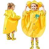 Gudotra Pioggia Incappucciati Antipioggia Poncho con Cappuccino Giacche per Pioggia Unisex per Bambini