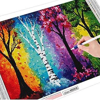 Jahreszeitenbaum quadratische Bohrer Square Drills 30X40CM 12X16 Seasons Tree Landschafts-Landschaftsfarbe mit Diamant-Kunst f/ür Stressabbau und Heimdekoration Anmuxi 5D Diamantmalerei-Set