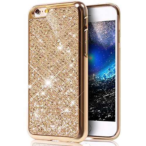 Custodia iPhone 6 Glitter, iPhone 6S Cover Silicone, SainCat Custodia in Morbida TPU Protettiva Cover per iPhone 6/6S,Creative Design Bling Glitter Diamond Silicone Case Ultra Slim Sottile Morbida TPU doro