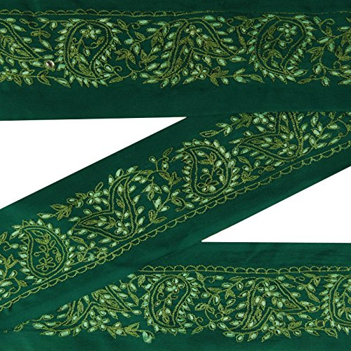 Jahrgang indische gestickte Border Antike Trim Gebrauchte Sari Green Sewing 1YD Ribbon (Gestickte Trim Ribbon)
