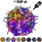 VOLTRONIC 100 200 400 600 LED Lichterkette warm-weiss, kalt-weiss, bunt, innen und außen, Dekra GS Adapter