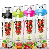 Wasserflasche, DEGBIT® [BPA-freiem Tritan] Kunststoff Trinkflasche Sport, Flasche ca. 1L, Sportflasche Auslaufsicher, Trinkflaschen BPA Frei Infuser mit Verschluss & Tragehenkel, Wasserflasche Grün