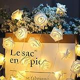ELINKUME® LED Rosen Lichterkette mit 20er Blumen, 2.5M/8,2 Füße Batteriebetrieben, Warmweiß Rosenblütenkette Romantische Atmosphäre Dekoration