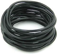 NPRC Black Rubber Gummy Bracelets Silicone Jelly Wristbands - 10 Pieces