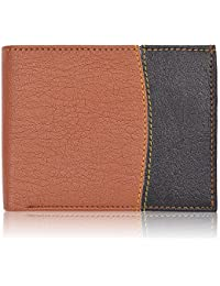 Al Fascino® Stylish Tan And Black Color Combo PU Leather Wallet/Purse For Men, Designer Stitch, Dedicated Coin...