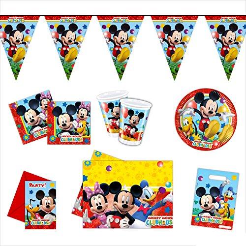 partydiscount24 Partypaket Dekotset Geburtstagsparty - Mickey Mouse - 50 Teile + 10 Gratis Luftballons Bunt Gemischt Ø 30 cm (Gratis Mickey-maus)
