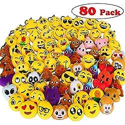 Aiduy Mini Emoji Llavero Emoji encantadora almohada almohadillas Emoticon Llavero Soft Party Bag regalo de relleno de juguete para los niños (80 pcs)