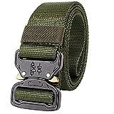 Cintura di sicurezza di combattimento tattico Utility nylon Gear regolabile resistente stile militare apparecchiature a sgancio rapido con fibbia in metallo, Army Green
