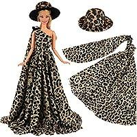 Miunana 1 Elegante Vestido de Noche con Cordón Leopardo Ropa +1 Sombrero Vestir Fiesta Partido