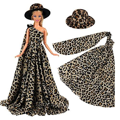 Miunana Abendkleid Ballkleid Prinzessin Kleidung Dress Kleider mit Hut Partymode Leopard Fashion...