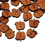 Pandahall-botones de madera con 2-ojales, botones de costura manzana, sin tenir, Marron, 15x17x4mm, agujero: 2 mm