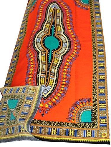 raanpahmuang Afrika Dashiki Farbe Baumwolle Stoff für 1Kinder Shirt Design, hellorange, Standard